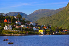 Town Sogndal and fjord - Norway Royalty Free Stock Image