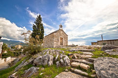 Town of Solin chapel on the rock Stock Photo