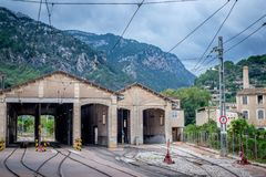 Town Soller, Mallorca. Depo train. Train station. Mountains in backround Royalty Free Stock Images