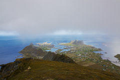 Town of Sorland on Lofoten. Scenic view of town Sorland on Lofoten islands in Norway on cloudy day Stock Photography