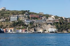 Town of Sorrento as seen from the water, Campania, Italy. Town of Sorrento as seen from the water, Campania, Italy stock photography