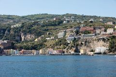 Town of Sorrento as seen from the water, Campania, Italy. Town of Sorrento as seen from the water, Campania, Italy stock photo