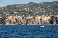 Town of Sorrento as seen from the water, Campania, Italy. Town of Sorrento as seen from the water, Campania, Italy royalty free stock photo