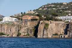 Town of Sorrento as seen from the water, Campania. Italy royalty free stock image