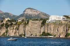 Town of Sorrento as seen from the water, Campania. Italy stock images