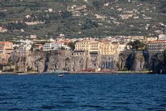 Town of Sorrento as seen from the water, Campania,. Italy stock photos