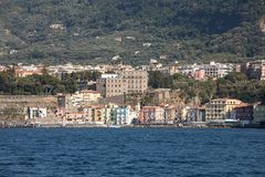 Town of Sorrento as seen from the water, Campania, Italy. Town of Sorrento as seen from the water, Campania, Italy stock images