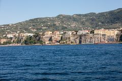 Town of Sorrento as seen from the water, Campania. Italy stock photography