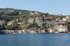 Town of Sorrento as seen from the water, Campania. Italy stock photo