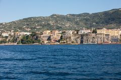 Town of Sorrento as seen from the water, Campania,. Italy stock photo