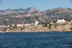 Town of Sorrento as seen from the water, Campania. Italy royalty free stock images