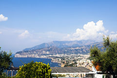 Town of Sorrento and Naples. Town of Sorrento, Naples and the bay of Naples as seen from the mountain side of Sorrento Stock Photography