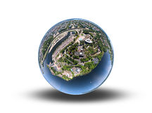 Town on a sphere. Panorama photo of a small town warped on a sphere Stock Image