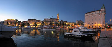 Town Split in Croatia, Diocletian palace night view from the seaside Royalty Free Stock Images