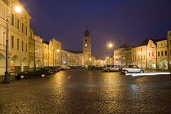 Town square. Old town square in Litomysl at night lighting. UNESCO heritage Stock Images