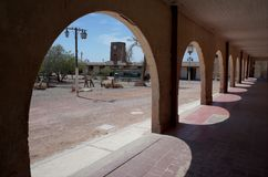 Humberstone Saltpeter Worksm in northern Chile. The town square in the abandoned Humberstone saltpeter works. This abandoned nitrate town was extremely important royalty free stock photos