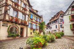 Town square in Alsace village Eguisheim in Strasbourg region Royalty Free Stock Photos