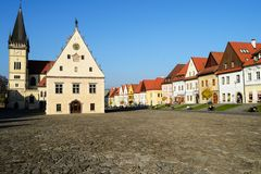 Town Square in Bardejov, Slovakia stock photography