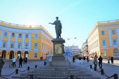 Town square with bronze statue of the historic governor general Duke of Richelieu with toga. Located in one of the main square of Odessa, Ukraine royalty free stock photos