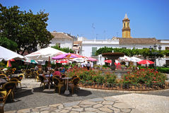 Town square with cafes, Estepona. Stock Photo