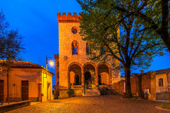 Town square and castle of Barolo early in the morning. Stock Photo
