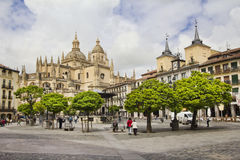 Town square and cathedral of Segovia in Spain Royalty Free Stock Photography