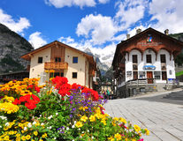 Town square of Courmayeur, Italy Stock Photos