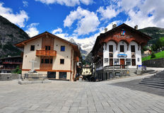 Town square of Courmayeur, Italy Stock Photo