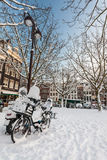 Town square covered with snow in Amsterdam Stock Photo
