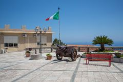 The town square in Forza D`agro in Siciliy stock photo