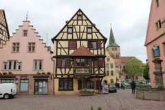 Beautiful view of a house in alsace royalty free stock photography