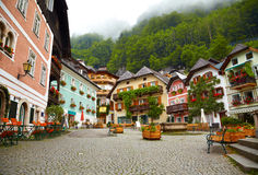 Town square in Hallstatt Stock Photography