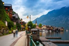 Town square in Hallstatt, Austria. Hallstatt is historical village located in Austrian Alps. HALLSTATT, AUSTRIA - 20 JUNE 2014: Town square in Hallstatt, Austria Royalty Free Stock Images