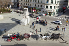 Town square in the historic city center of Vienna. Austria. Royalty Free Stock Image