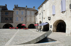 The town square in Lauzerte. Lauzerte town square with fun architectural feature Stock Photography