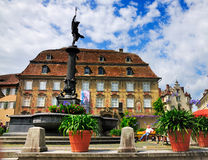 Lindau, Bodensee, Germany. A town square in Lindau, a town on the shores of the Boden See / Boden lake stock image