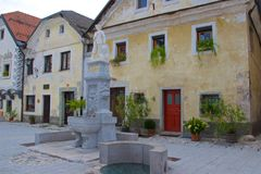 Town square in medieval old town of Radovljica in Slovenia stock images
