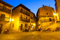 Town square at old spanish town in night Stock Images