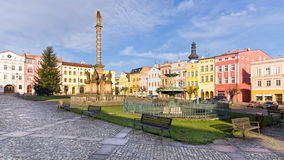 Town square with old statue, Broumov, Czech Republic Stock Images
