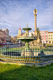Town square with old statue, Broumov, Czech Republic Stock Photos