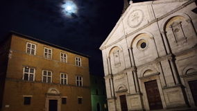 Town square of Pienza at night stock video
