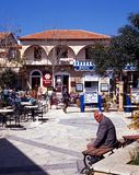Town Square, Polis. People relaxing in the restaurant area of the old town, Polis, Cyprus Royalty Free Stock Photos
