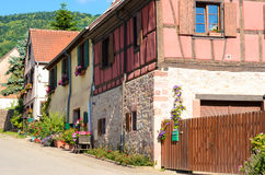 Town square in Riquewihr, Alsace, France Royalty Free Stock Photos
