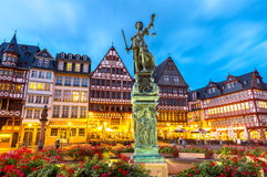 Town square romerberg Frankfurt Germany. Old town square romerberg with Justitia statue in Frankfurt Germany Royalty Free Stock Image