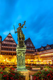 Town square romerberg Frankfurt Germany. Old town square romerberg with Justitia statue in Frankfurt Germany Stock Photography