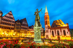 Town square romerberg Frankfurt Germany. Old town square romerberg with Justitia statue in Frankfurt Germany Stock Photos