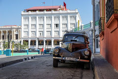 Town Square of Santiago De Cuba and old vintage amercan car Stock Images