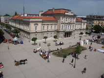 The town square in Smederevo, Serbia with competitions of carriages with horses Stock Photos
