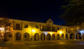 Town square at  spanish town in night.  Utrillas Stock Photography