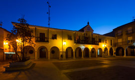 Town square at  spanish town in night.  Utrillas Stock Image